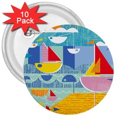 Boats Ship Sea Beach 3  Buttons (10 pack)  by Mariart