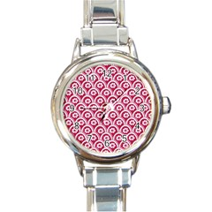 Botanical Gardens Sunflower Red White Circle Round Italian Charm Watch by Mariart