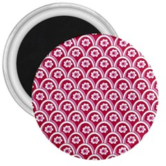 Botanical Gardens Sunflower Red White Circle 3  Magnets by Mariart