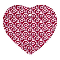 Botanical Gardens Sunflower Red White Circle Ornament (heart) by Mariart