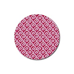 Botanical Gardens Sunflower Red White Circle Rubber Round Coaster (4 Pack)  by Mariart