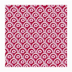 Botanical Gardens Sunflower Red White Circle Medium Glasses Cloth (2 Side) by Mariart