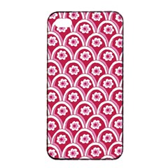 Botanical Gardens Sunflower Red White Circle Apple Iphone 4/4s Seamless Case (black) by Mariart