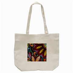 Flower Floral Sunflower Rose Color Rainbow Circle Polka Tote Bag (cream) by Mariart