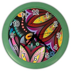 Flower Floral Sunflower Rose Color Rainbow Circle Polka Color Wall Clocks by Mariart