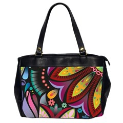 Flower Floral Sunflower Rose Color Rainbow Circle Polka Office Handbags (2 Sides)  by Mariart