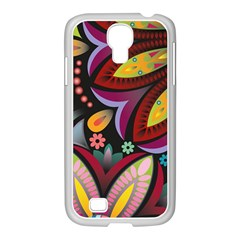 Flower Floral Sunflower Rose Color Rainbow Circle Polka Samsung Galaxy S4 I9500/ I9505 Case (white) by Mariart