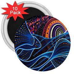 Fish Out Of Water Monster Space Rainbow Circle Polka Line Wave Chevron Star 3  Magnets (10 Pack)  by Mariart