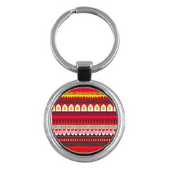 Fabric Aztec Red Line Polka Circle Wave Chevron Star Key Chains (round)  by Mariart