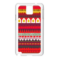 Fabric Aztec Red Line Polka Circle Wave Chevron Star Samsung Galaxy Note 3 N9005 Case (white) by Mariart