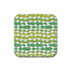 Polkadot Polka Circle Round Line Wave Chevron Waves Green White Rubber Coaster (square)  by Mariart