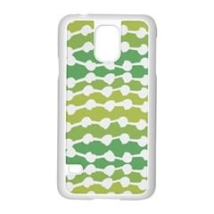 Polkadot Polka Circle Round Line Wave Chevron Waves Green White Samsung Galaxy S5 Case (white) by Mariart