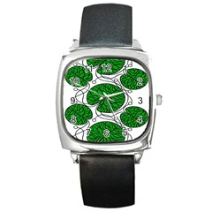 Leaf Green Square Metal Watch by Mariart