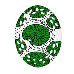 Leaf Green Ornament (oval Filigree) by Mariart