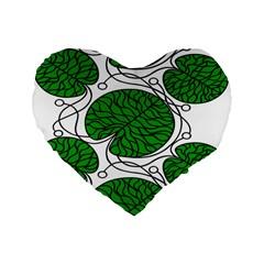 Leaf Green Standard 16  Premium Flano Heart Shape Cushions by Mariart