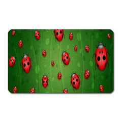 Ladybugs Red Leaf Green Polka Animals Insect Magnet (rectangular) by Mariart