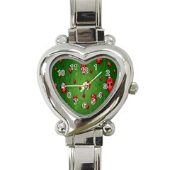 Ladybugs Red Leaf Green Polka Animals Insect Heart Italian Charm Watch by Mariart