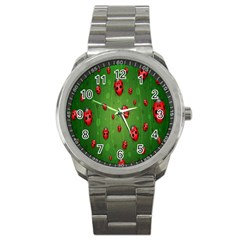 Ladybugs Red Leaf Green Polka Animals Insect Sport Metal Watch by Mariart