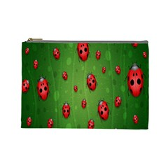 Ladybugs Red Leaf Green Polka Animals Insect Cosmetic Bag (large)  by Mariart