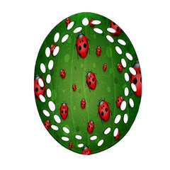 Ladybugs Red Leaf Green Polka Animals Insect Ornament (oval Filigree) by Mariart