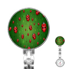 Ladybugs Red Leaf Green Polka Animals Insect Stainless Steel Nurses Watch by Mariart