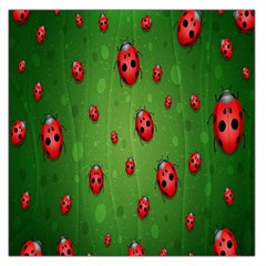 Ladybugs Red Leaf Green Polka Animals Insect Large Satin Scarf (square) by Mariart