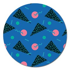 Seamless Triangle Circle Blue Waves Pink Magnet 5  (round) by Mariart