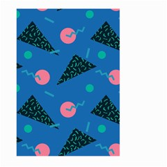 Seamless Triangle Circle Blue Waves Pink Large Garden Flag (two Sides) by Mariart