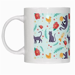 Redbubble Animals Cat Bird Flower Floral Leaf Fish White Mugs by Mariart