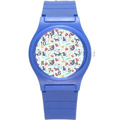Redbubble Animals Cat Bird Flower Floral Leaf Fish Round Plastic Sport Watch (s) by Mariart