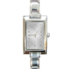 Simple Pattern Waves Plaid Black White Rectangle Italian Charm Watch by Mariart