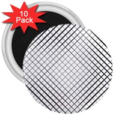 Simple Pattern Waves Plaid Black White 3  Magnets (10 Pack)  by Mariart