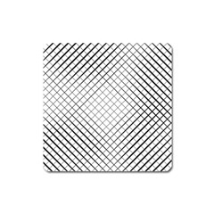 Simple Pattern Waves Plaid Black White Square Magnet by Mariart