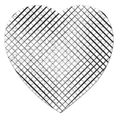 Simple Pattern Waves Plaid Black White Jigsaw Puzzle (heart) by Mariart