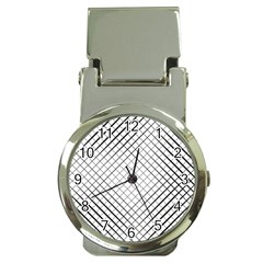 Simple Pattern Waves Plaid Black White Money Clip Watches by Mariart