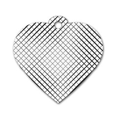 Simple Pattern Waves Plaid Black White Dog Tag Heart (one Side) by Mariart