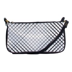Simple Pattern Waves Plaid Black White Shoulder Clutch Bags by Mariart