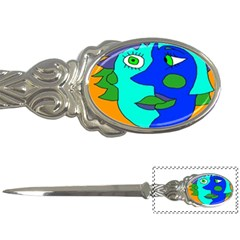 Visual Face Blue Orange Green Mask Letter Openers by Mariart