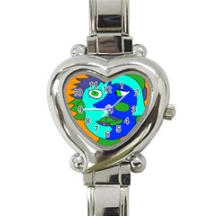 Visual Face Blue Orange Green Mask Heart Italian Charm Watch by Mariart