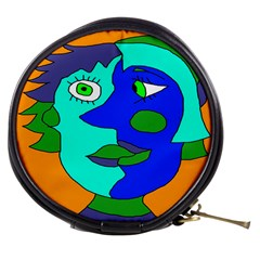 Visual Face Blue Orange Green Mask Mini Makeup Bags by Mariart
