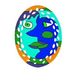 Visual Face Blue Orange Green Mask Oval Filigree Ornament (two Sides) by Mariart