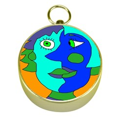 Visual Face Blue Orange Green Mask Gold Compasses by Mariart