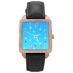 Star Blue Sky Space Line Vertical Light Rose Gold Leather Watch  by Mariart