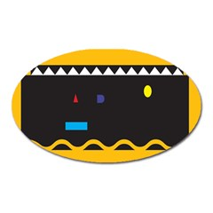 Bright Polka Wave Chevron Yellow Black Oval Magnet by Mariart