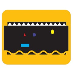 Bright Polka Wave Chevron Yellow Black Double Sided Flano Blanket (medium)  by Mariart