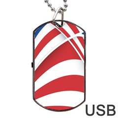 American Flag Star Blue Line Red White Dog Tag Usb Flash (two Sides) by Mariart
