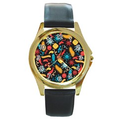 Worm Insect Bacteria Monster Round Gold Metal Watch by Mariart