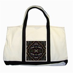 Dark Ethnic Sharp Bold Pattern Two Tone Tote Bag by dflcprints
