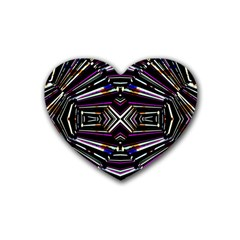 Dark Ethnic Sharp Bold Pattern Heart Coaster (4 Pack)  by dflcprints
