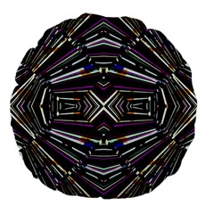 Dark Ethnic Sharp Bold Pattern Large 18  Premium Flano Round Cushions by dflcprints